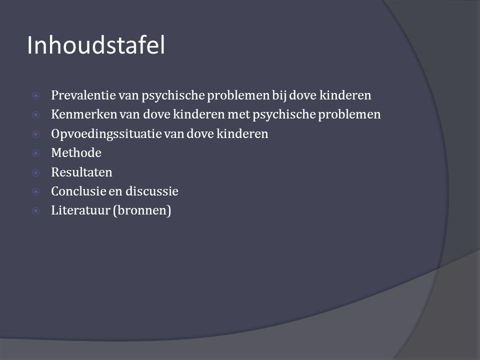 Inhoudstafel Prevalentie van psychische problemen bij dove kinderen