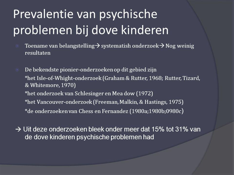 Prevalentie van psychische problemen bij dove kinderen