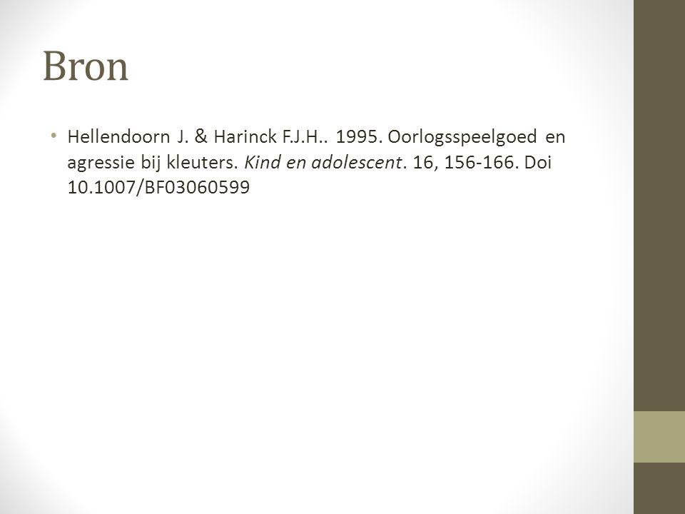 Bron Hellendoorn J. & Harinck F.J.H.. 1995. Oorlogsspeelgoed en agressie bij kleuters.