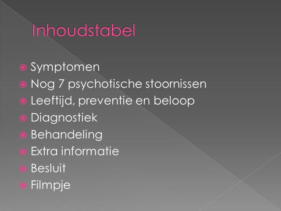 Inhoudstabel Symptomen Nog 7 psychotische stoornissen