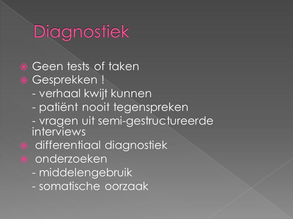 Diagnostiek Geen tests of taken Gesprekken ! - verhaal kwijt kunnen