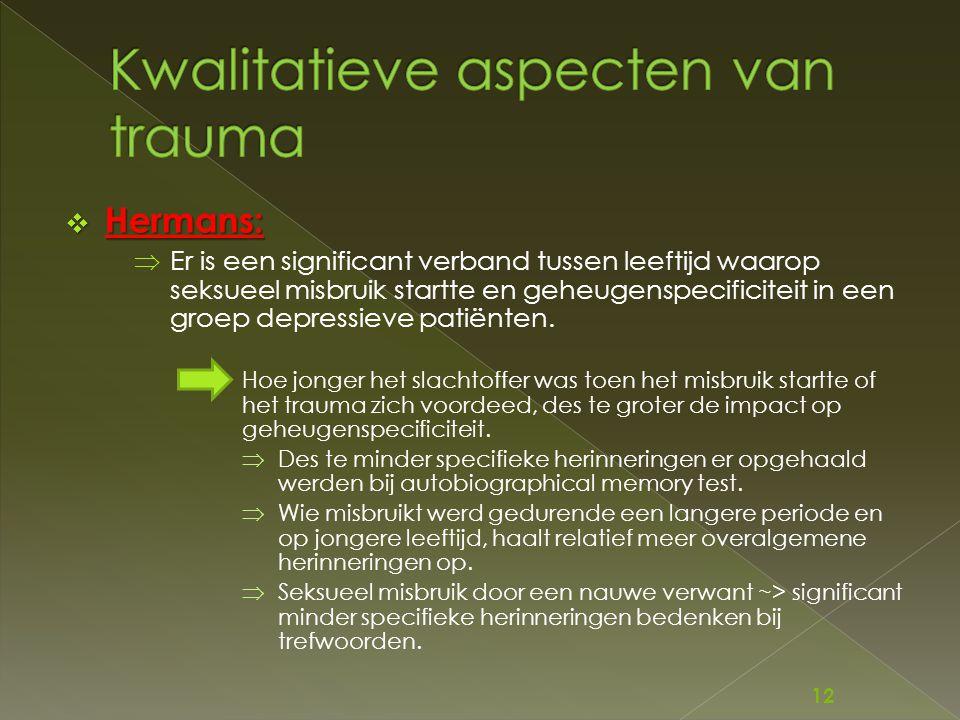 Kwalitatieve aspecten van trauma
