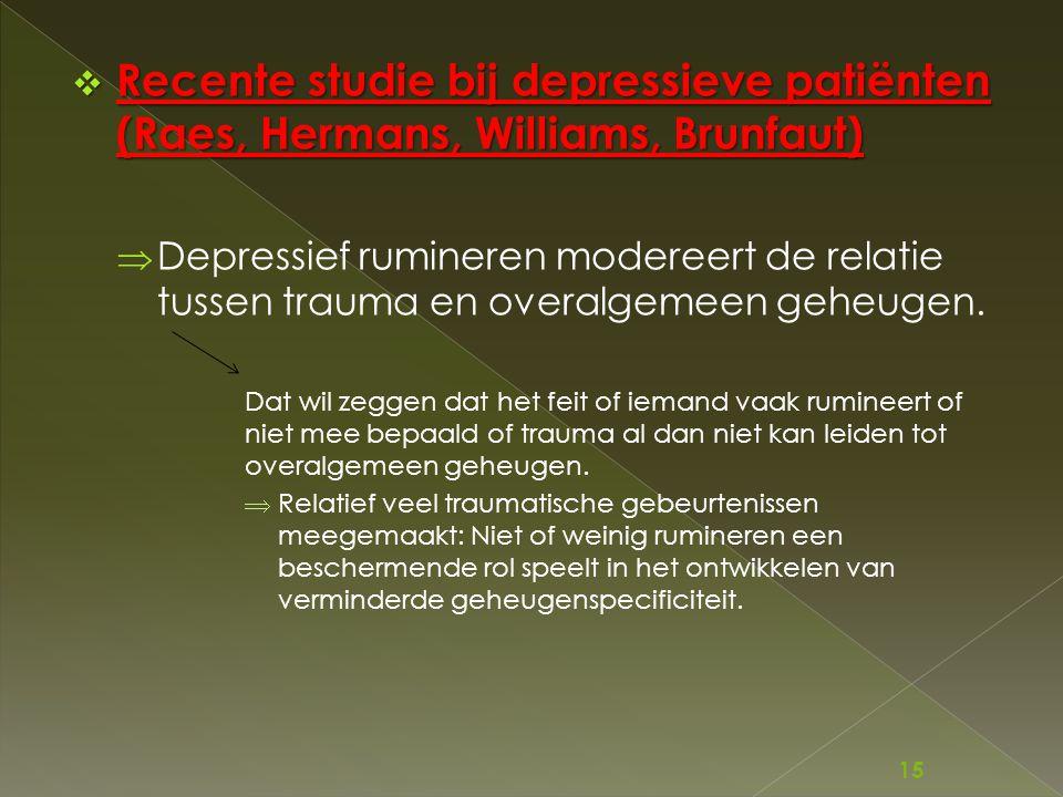 Recente studie bij depressieve patiënten (Raes, Hermans, Williams, Brunfaut)