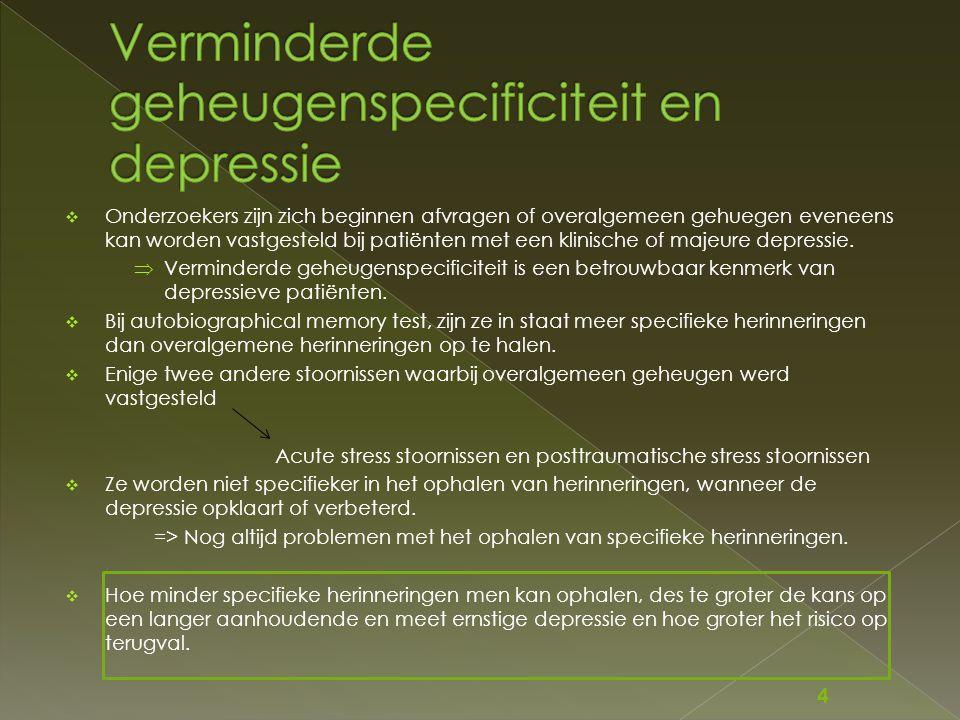Verminderde geheugenspecificiteit en depressie