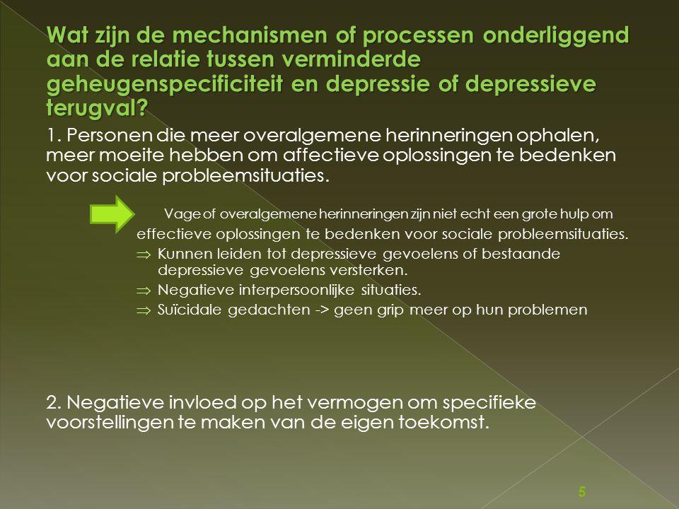 Wat zijn de mechanismen of processen onderliggend aan de relatie tussen verminderde geheugenspecificiteit en depressie of depressieve terugval