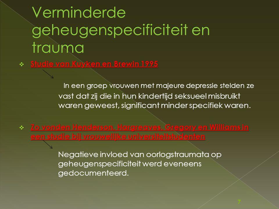 Verminderde geheugenspecificiteit en trauma