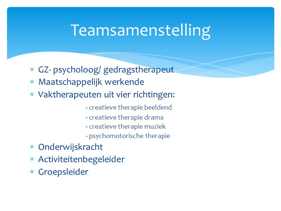 Teamsamenstelling GZ- psycholoog/ gedragstherapeut