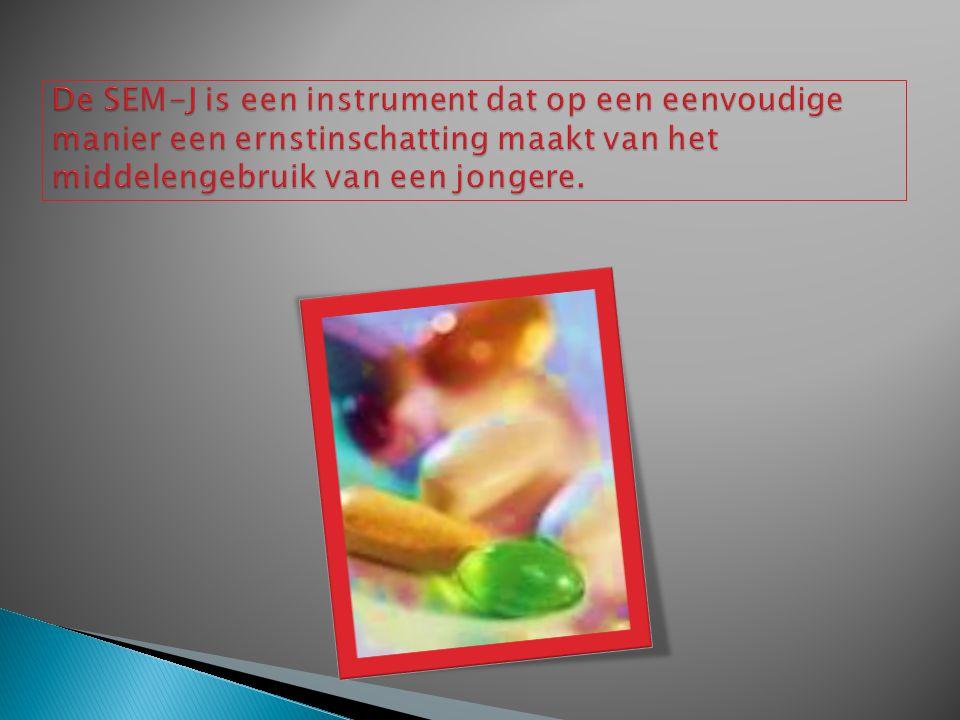 De SEM-J is een instrument dat op een eenvoudige manier een ernstinschatting maakt van het middelengebruik van een jongere.