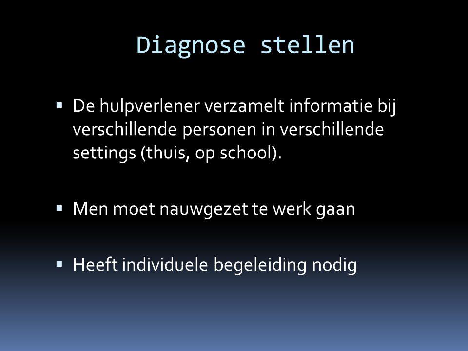 Diagnose stellen De hulpverlener verzamelt informatie bij verschillende personen in verschillende settings (thuis, op school).