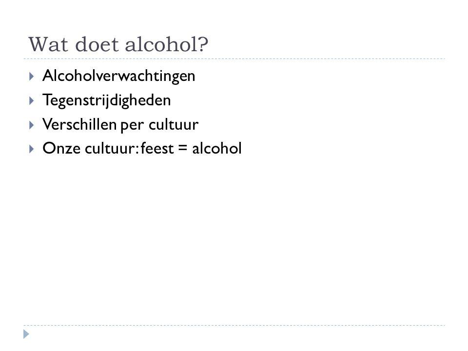 Wat doet alcohol Alcoholverwachtingen Tegenstrijdigheden