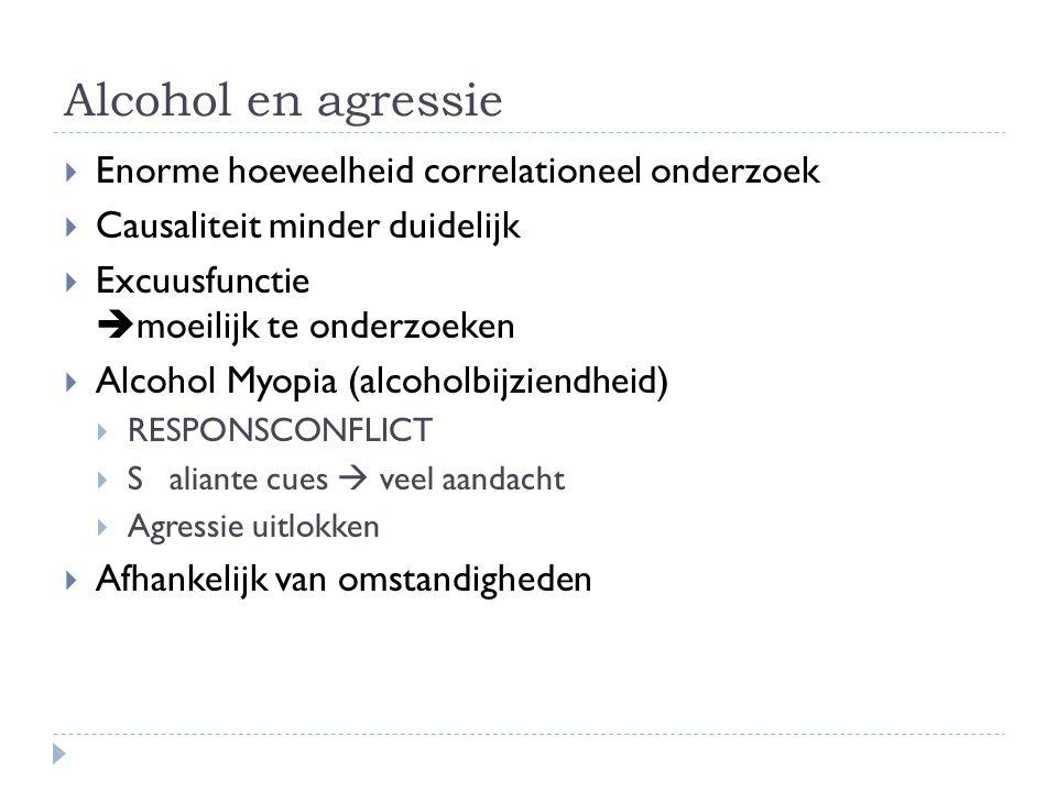 Alcohol en agressie Enorme hoeveelheid correlationeel onderzoek
