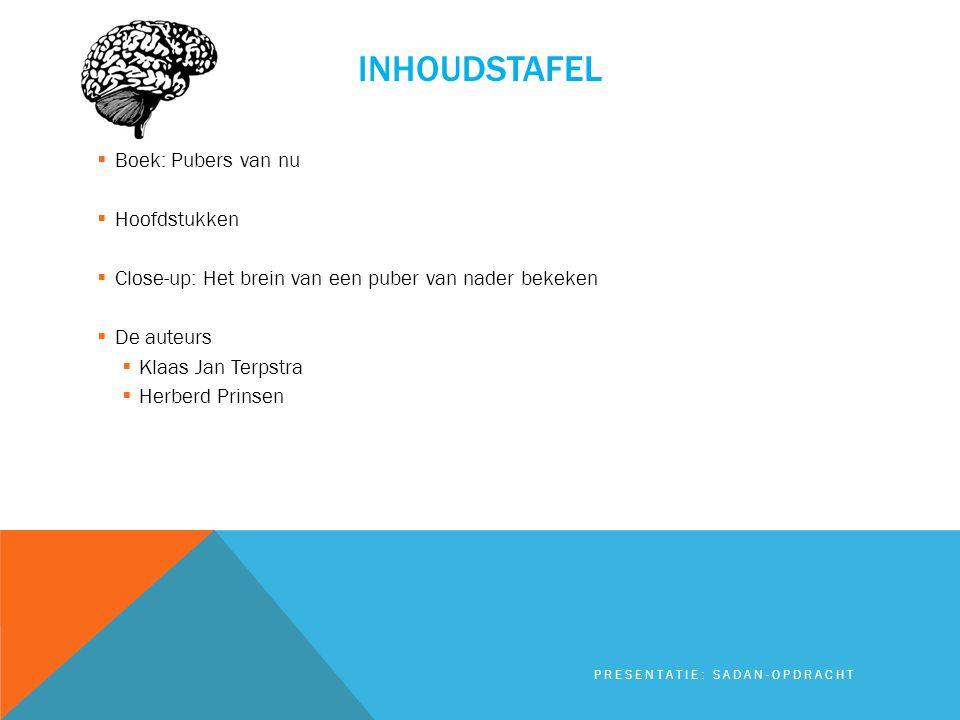 Inhoudstafel Boek: Pubers van nu Hoofdstukken