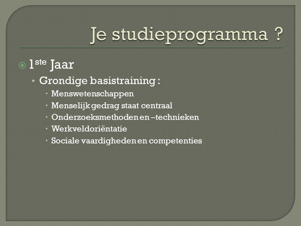 Je studieprogramma 1ste Jaar Grondige basistraining :
