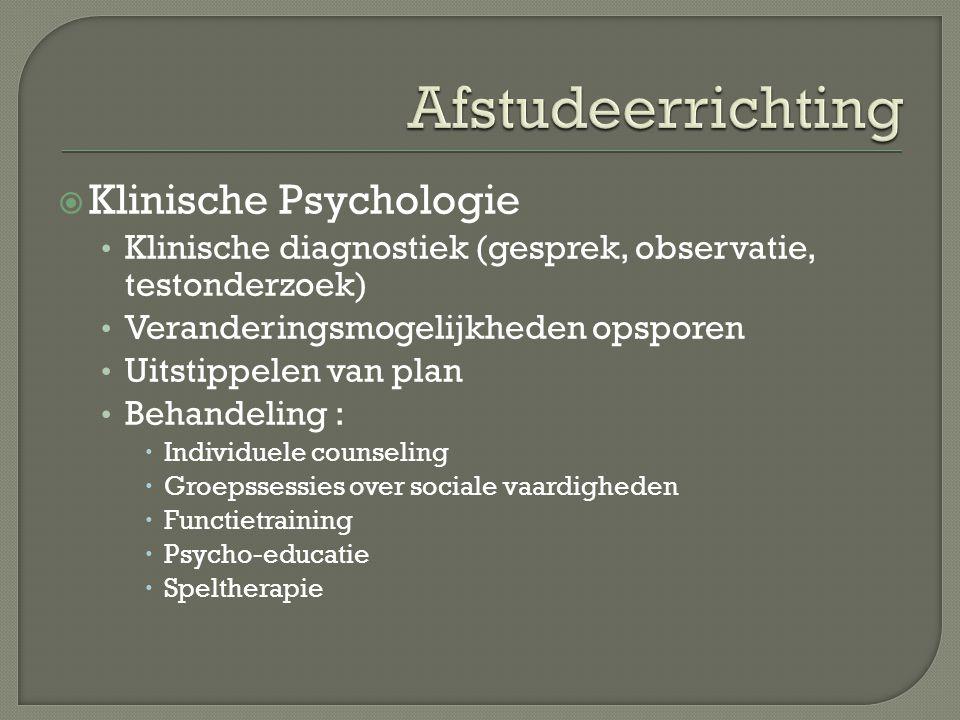 Afstudeerrichting Klinische Psychologie
