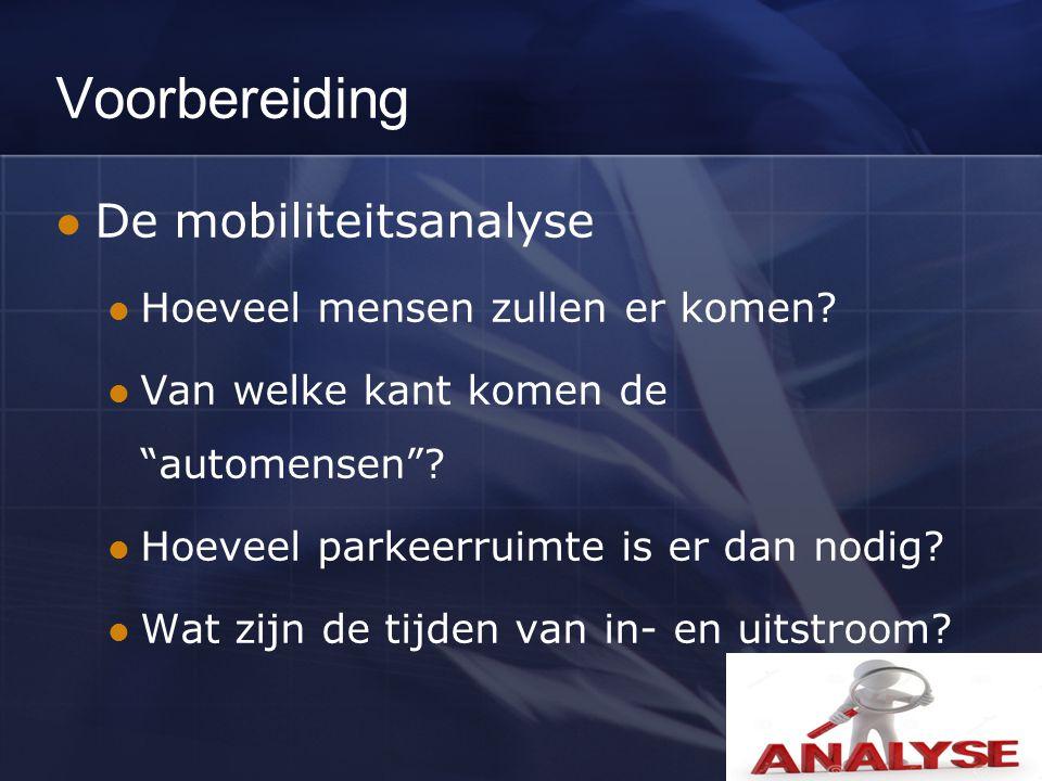 Voorbereiding De mobiliteitsanalyse Hoeveel mensen zullen er komen