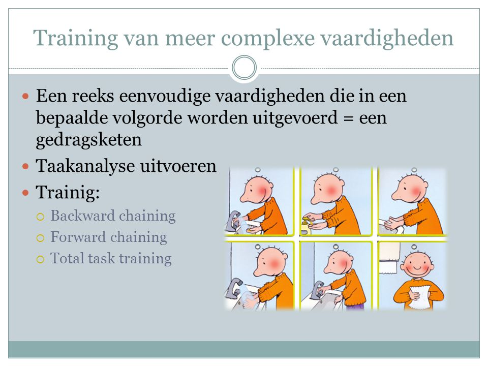 Training van meer complexe vaardigheden
