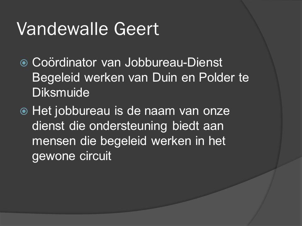 Vandewalle Geert Coördinator van Jobbureau-Dienst Begeleid werken van Duin en Polder te Diksmuide.