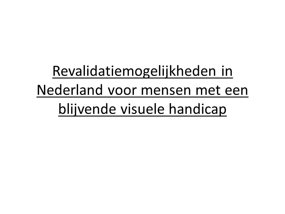 Revalidatiemogelijkheden in Nederland voor mensen met een blijvende visuele handicap