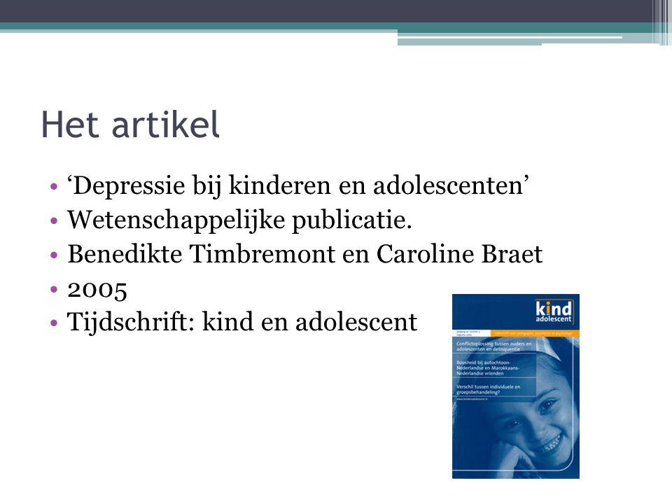 Het artikel 'Depressie bij kinderen en adolescenten'