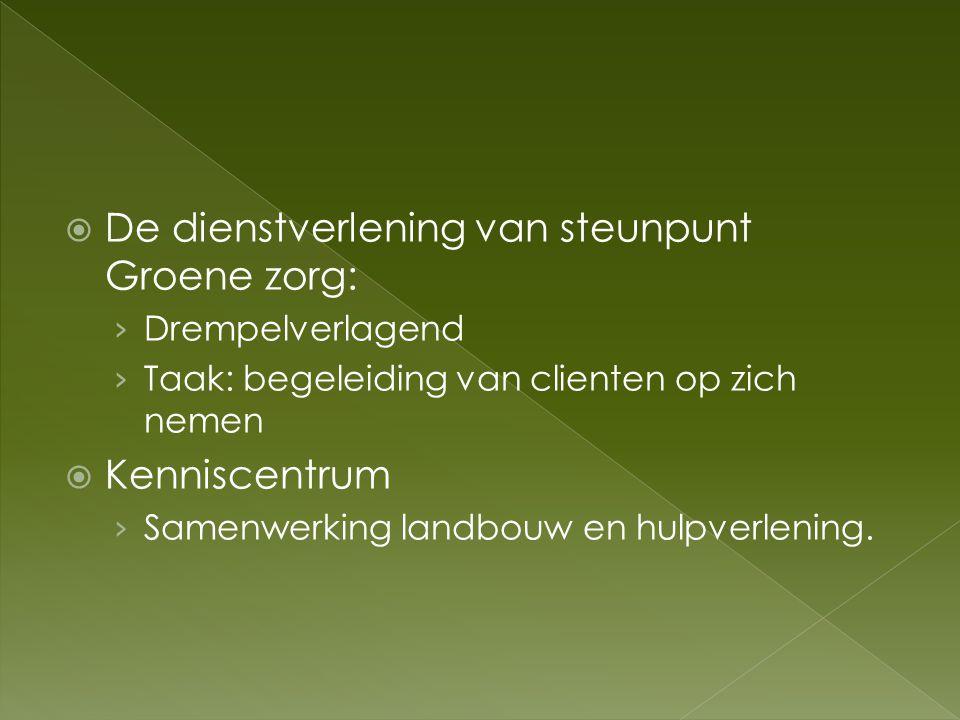 De dienstverlening van steunpunt Groene zorg:
