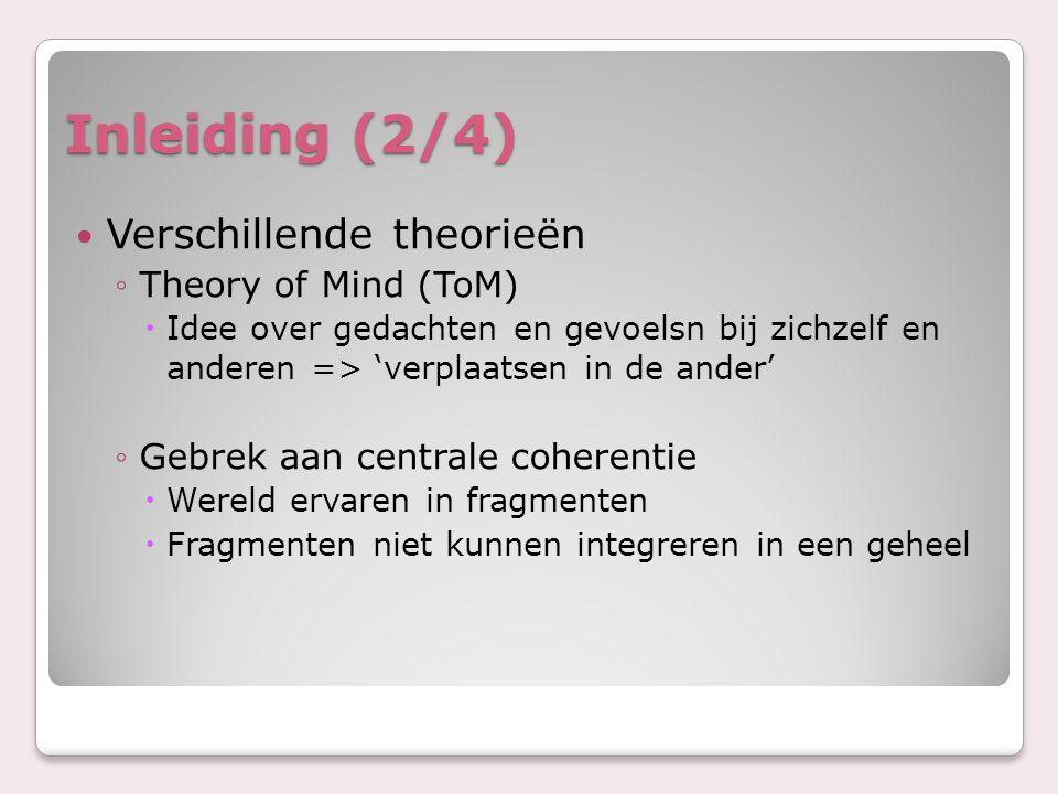 Inleiding (2/4) Verschillende theorieën Theory of Mind (ToM)