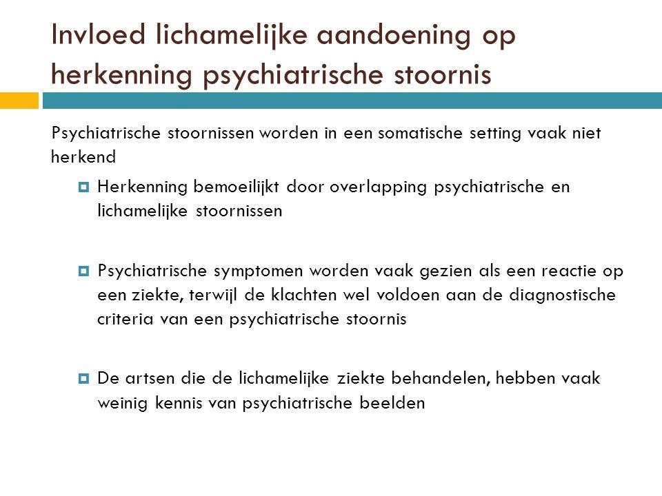 Invloed lichamelijke aandoening op herkenning psychiatrische stoornis