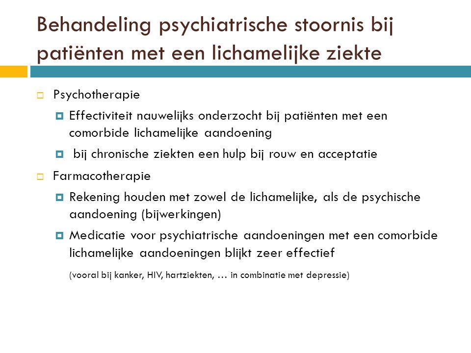 Behandeling psychiatrische stoornis bij patiënten met een lichamelijke ziekte