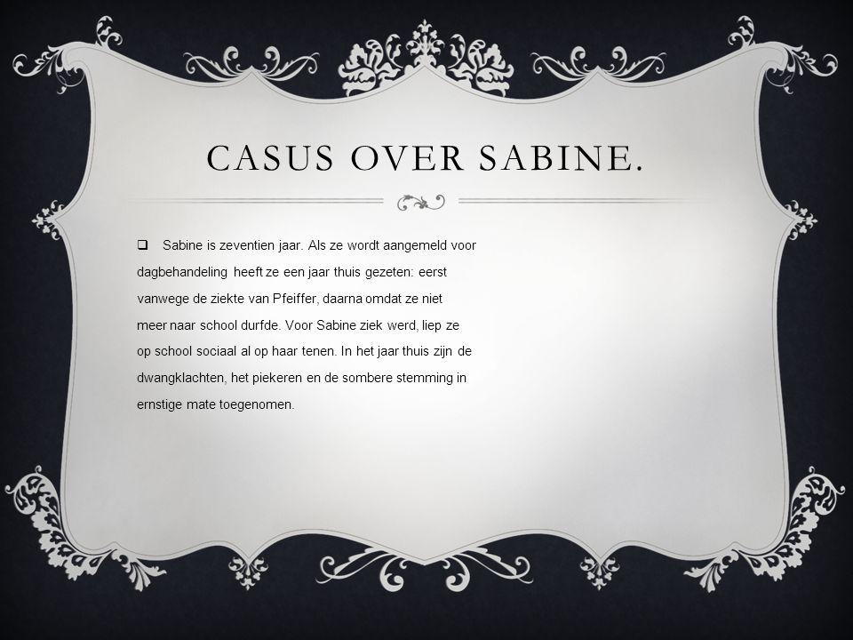 casus over Sabine. Sabine is zeventien jaar. Als ze wordt aangemeld voor. dagbehandeling heeft ze een jaar thuis gezeten: eerst.