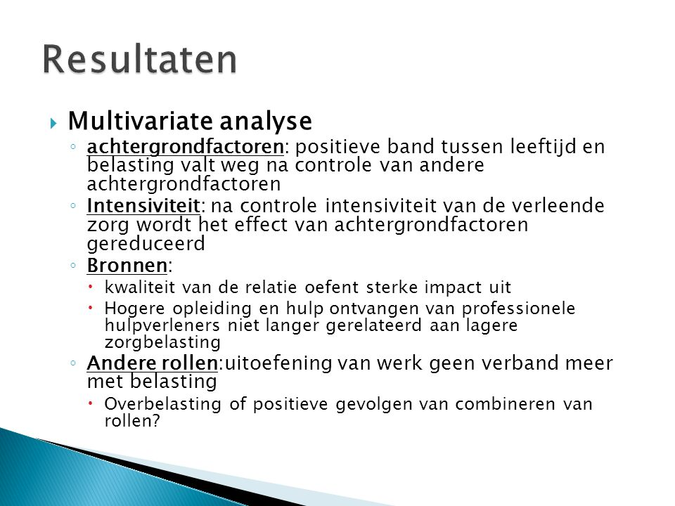 Resultaten Multivariate analyse