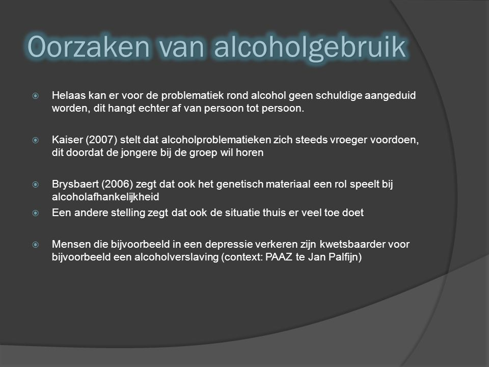 Oorzaken van alcoholgebruik