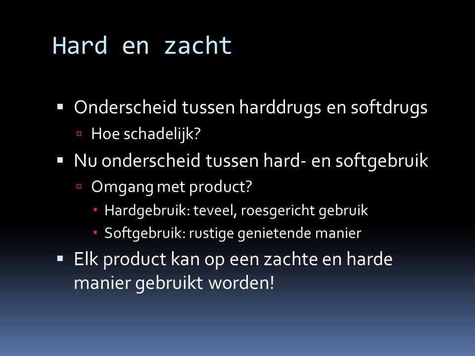 Hard en zacht Onderscheid tussen harddrugs en softdrugs
