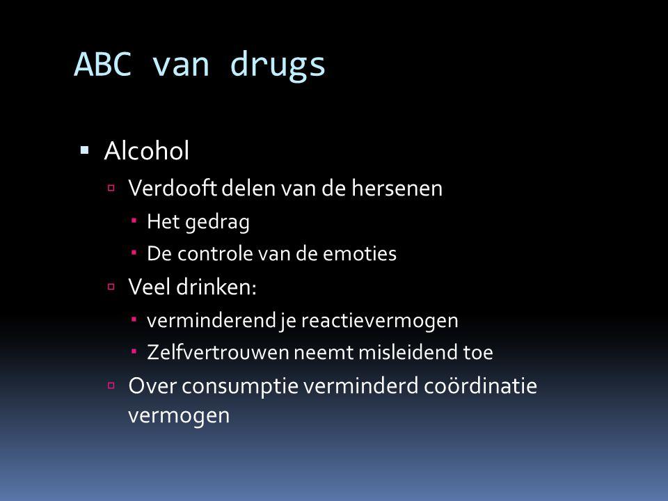 ABC van drugs Alcohol Verdooft delen van de hersenen Veel drinken: