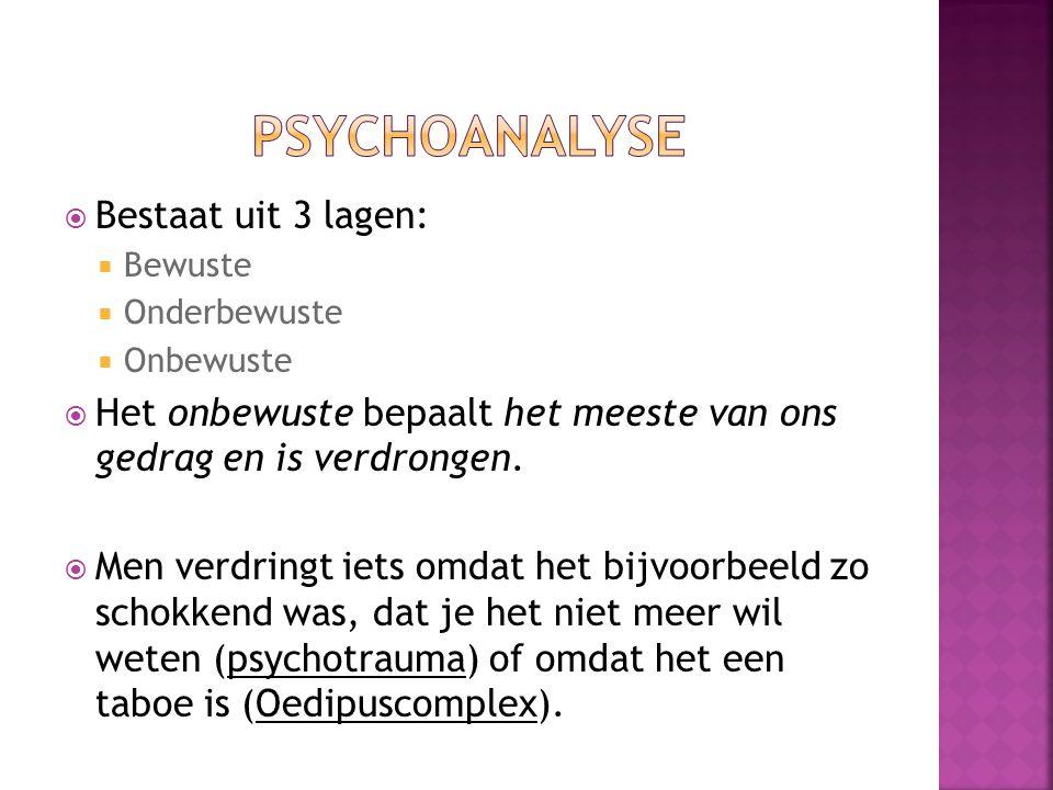 Psychoanalyse Bestaat uit 3 lagen: