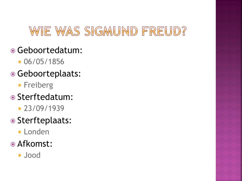 Wie was Sigmund Freud Geboortedatum: Geboorteplaats: Sterftedatum: