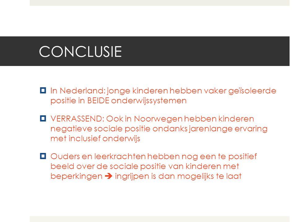 CONCLUSIE In Nederland: jonge kinderen hebben vaker geïsoleerde positie in BEIDE onderwijssystemen.