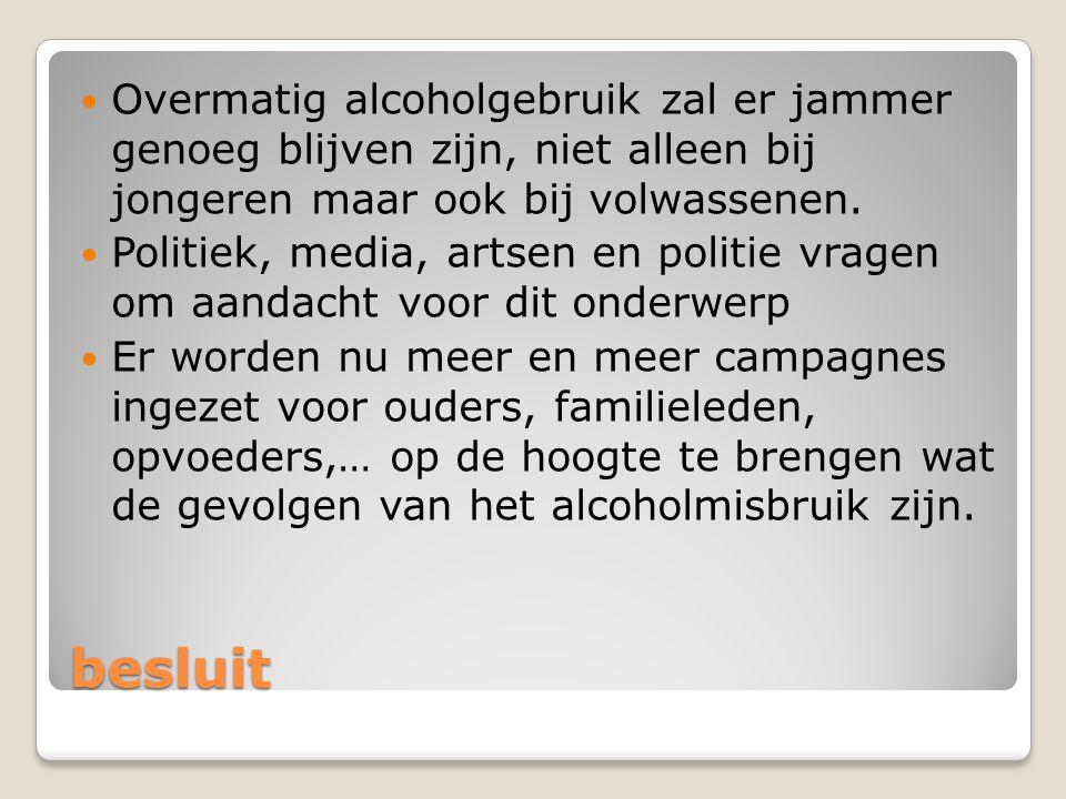 Overmatig alcoholgebruik zal er jammer genoeg blijven zijn, niet alleen bij jongeren maar ook bij volwassenen.