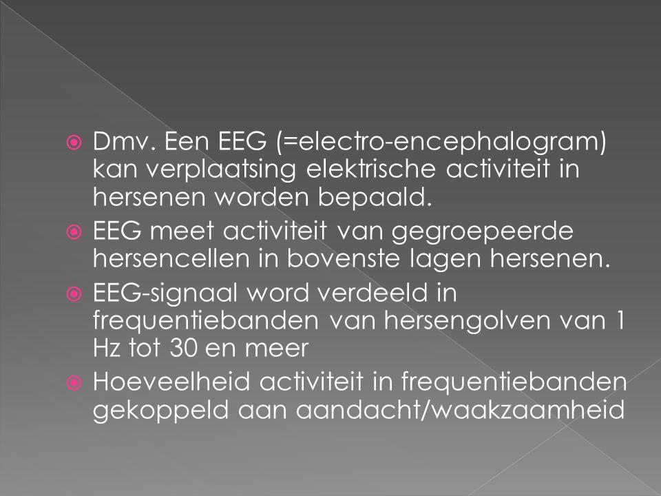 Dmv. Een EEG (=electro-encephalogram) kan verplaatsing elektrische activiteit in hersenen worden bepaald.