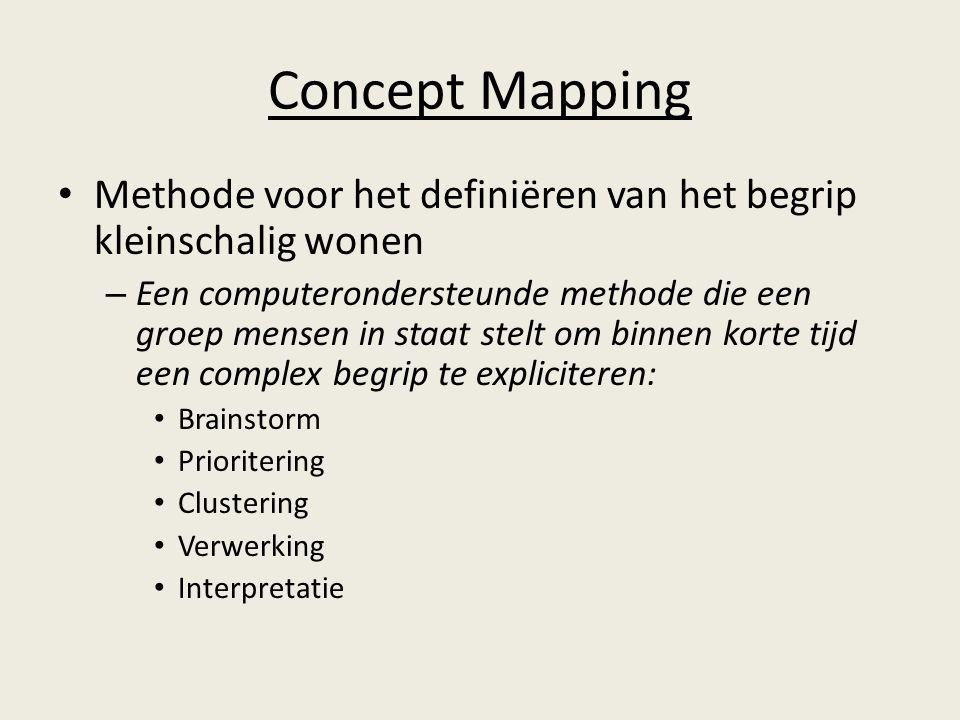 Concept Mapping Methode voor het definiëren van het begrip kleinschalig wonen.