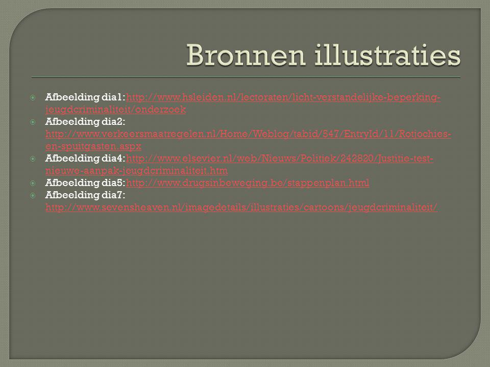 Bronnen illustraties Afbeelding dia1: http://www.hsleiden.nl/lectoraten/licht-verstandelijke-beperking-jeugdcriminaliteit/onderzoek.