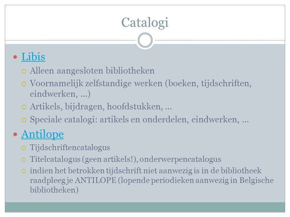Catalogi Antilope Libis Alleen aangesloten bibliotheken