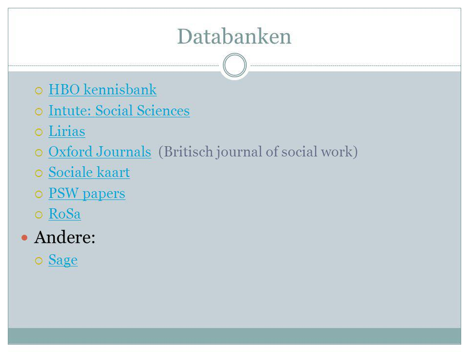 Databanken Andere: HBO kennisbank Intute: Social Sciences Lirias