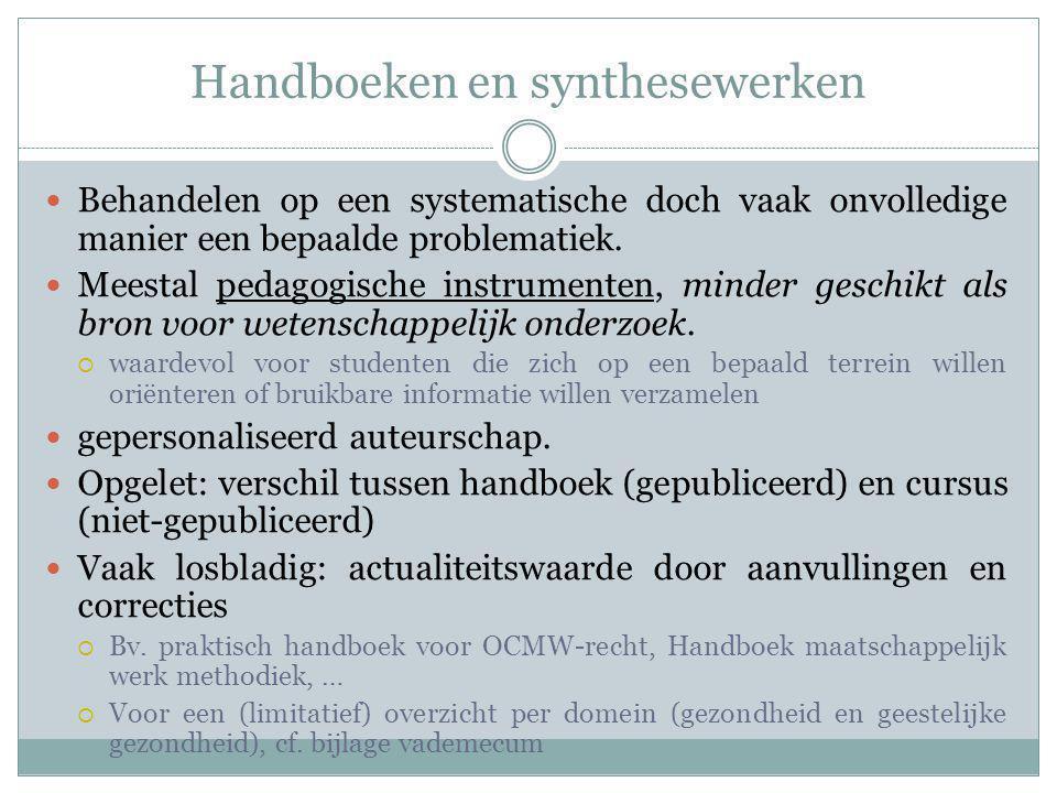 Handboeken en synthesewerken