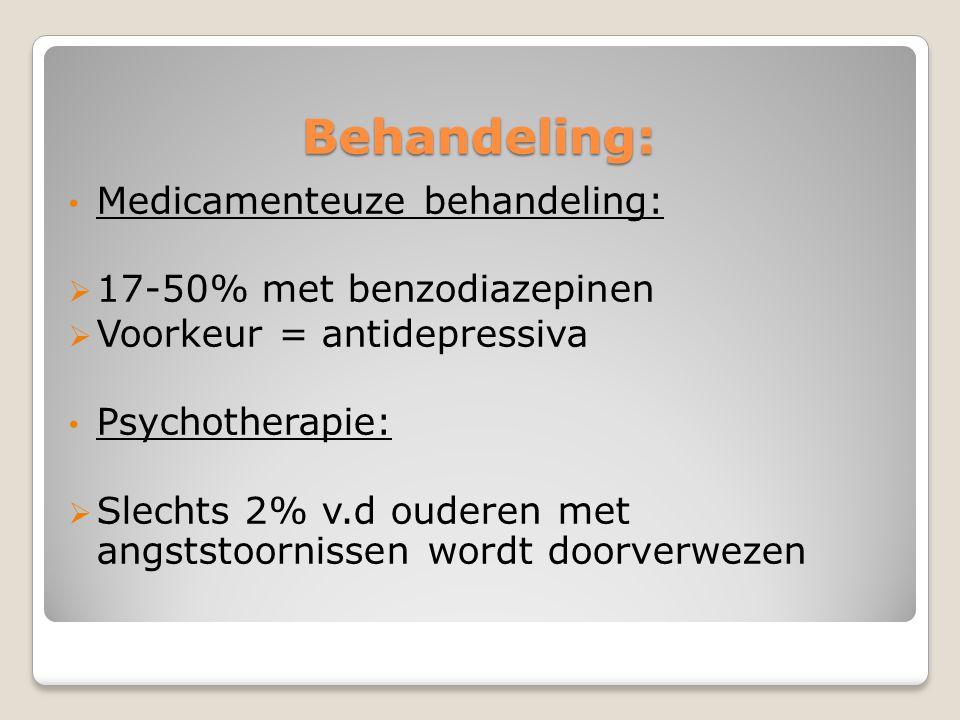 Behandeling: Medicamenteuze behandeling: 17-50% met benzodiazepinen