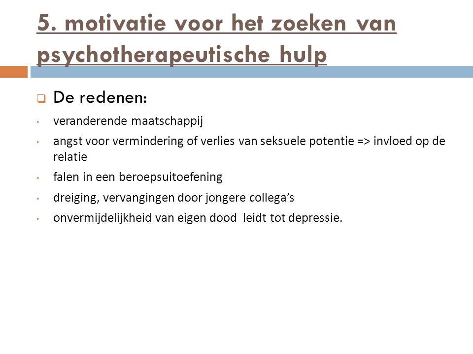 5. motivatie voor het zoeken van psychotherapeutische hulp