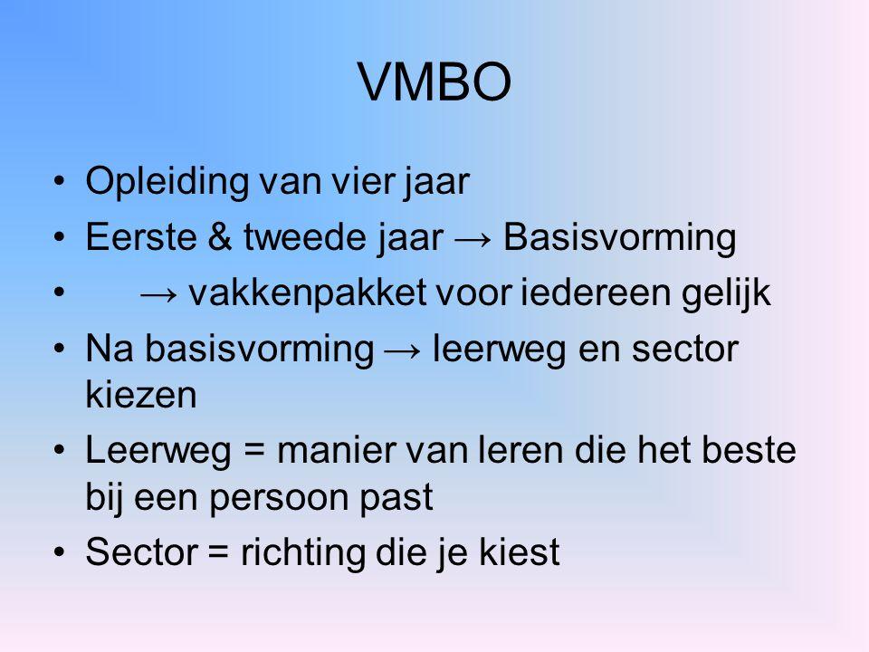 VMBO Opleiding van vier jaar Eerste & tweede jaar → Basisvorming