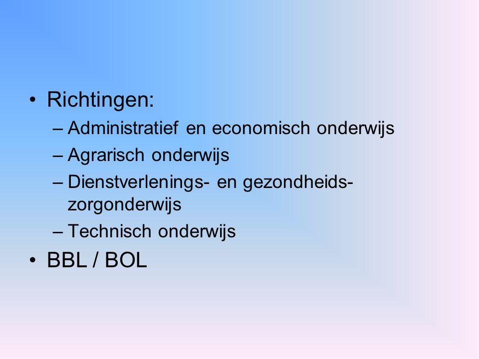 Richtingen: BBL / BOL Administratief en economisch onderwijs