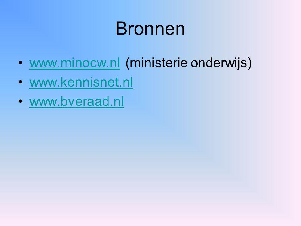 Bronnen www.minocw.nl (ministerie onderwijs) www.kennisnet.nl