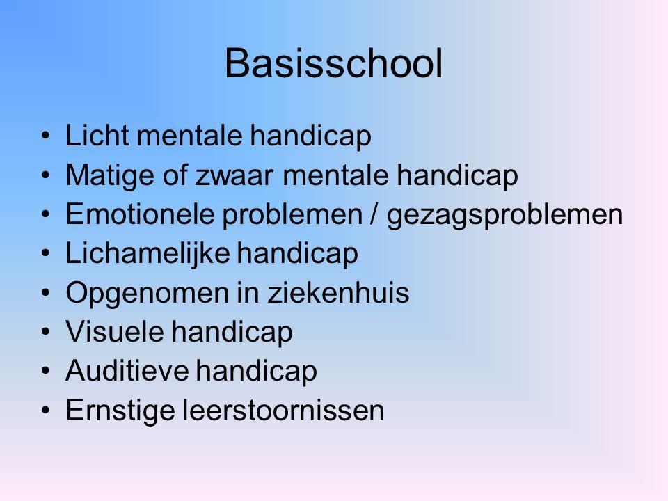 Basisschool Licht mentale handicap Matige of zwaar mentale handicap