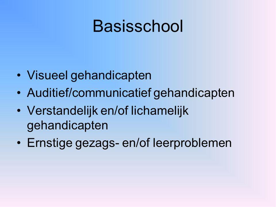 Basisschool Visueel gehandicapten Auditief/communicatief gehandicapten