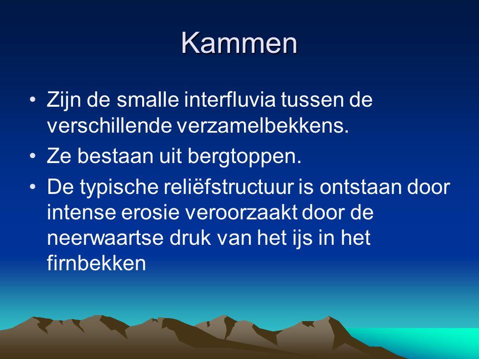 Kammen Zijn de smalle interfluvia tussen de verschillende verzamelbekkens. Ze bestaan uit bergtoppen.